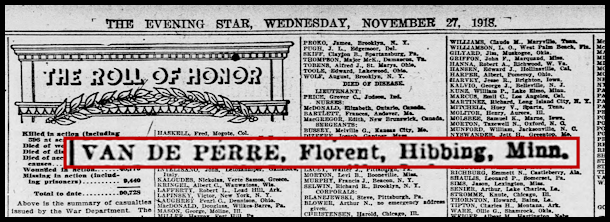 evening star 27 11 1918 van de perre florent